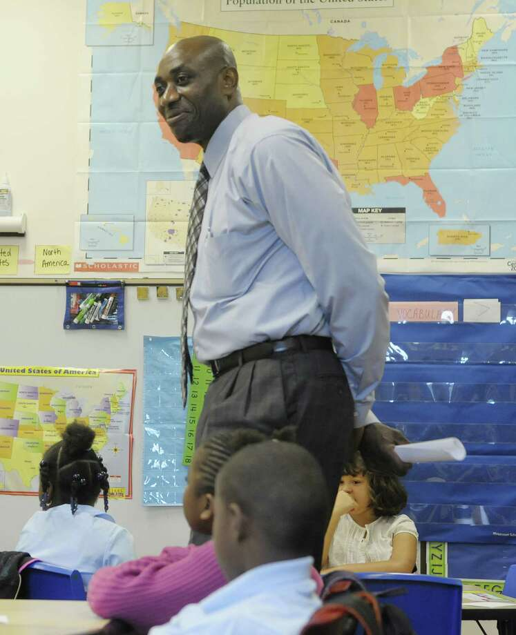 Principal Anthony Clement during the first day of school at Schuyler Achievement Academy elementary school last fall.  It was announced that  Clement died Thursday morning. (Paul Buckowski / Times Union) Photo: Paul Buckowski / 00017720A