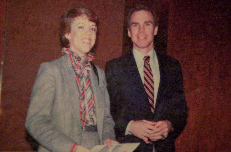 Then: (Dalton)1981, Dallas. Elizabeth Dalton and Cowboys quarterback Roger Staubach at a Salvation Army (Texas) fund raiser at the Sheraton Hotel.Credit: Courtesy