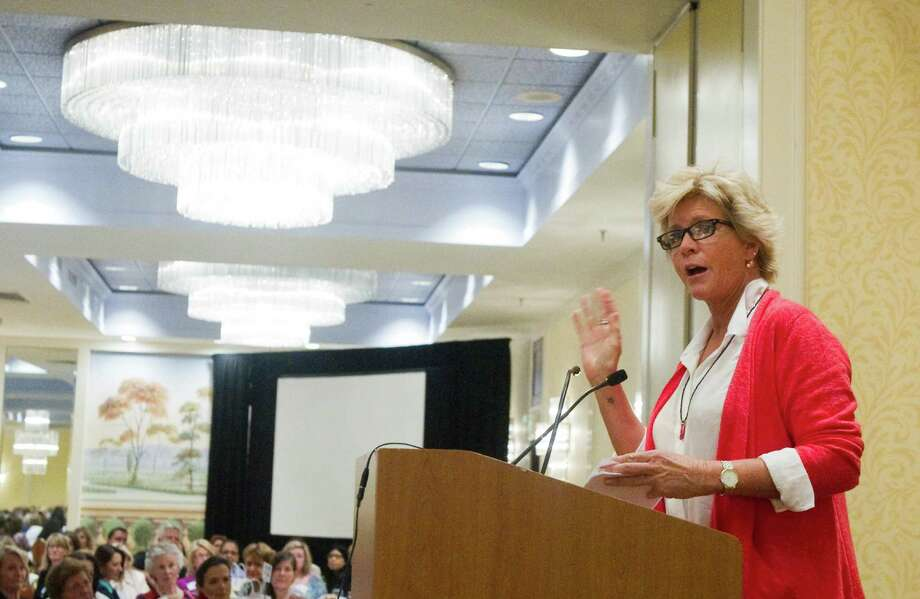 Actress Meredith Baxter speaks about her own experiences with abuse during the Domestic Violence Crisis Center fundraiser at the Stamford Marriott Hotel in Stamford, Conn., May 3, 2012. Photo: Keelin Daly / Stamford Advocate