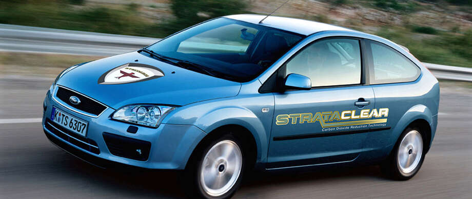 A car fitted with a testing prototype of Strataclear, a technology developed by Greenwich entrepreneur Donald Rynne, which can cut down carbon dioxide emissions in vehicles by 25 percent. Photo: Contributed Photo / Stamford Advocate Contributed