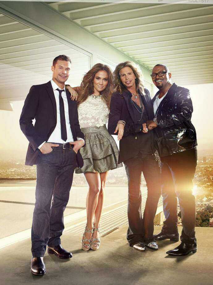 AMERICAN IDOL, moves to Wednesdays and Thursdays beginning with a two-night premiere event Wednesday, Jan. 19 (8:00-10:00 PM ET/PT) and Thursday, Jan. 20 (8:00-9:00 PM ET/PT). Pictured: Ryan Seacrest, jennifer Lopez, Steven Tyler and Randy Jackson. CR: Tony Duran / FOX / DirectToArchive