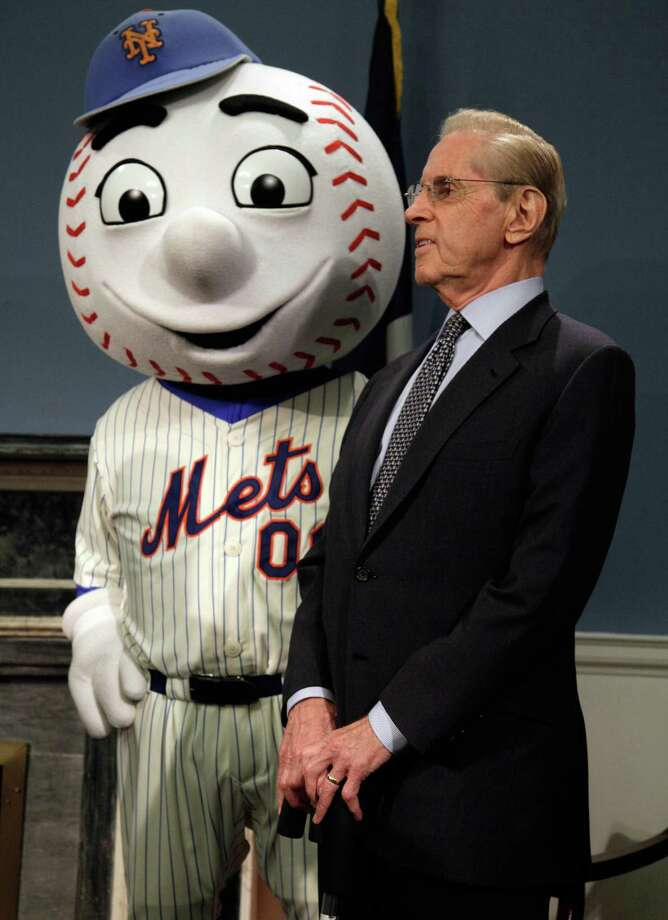New York Mets owner Fred Wilpon and Mr. Met during a news conference at New York's City Hall, Wednesday, May 16, 2012, where it was announced that the 2013 All-Star game will be hosted by the Mets at Citi Field. The Mets last hosted the All-Stars in 1964, the year Shea Stadium opened. (AP Photo/Richard Drew) Photo: Richard Drew, Associated Press / AP
