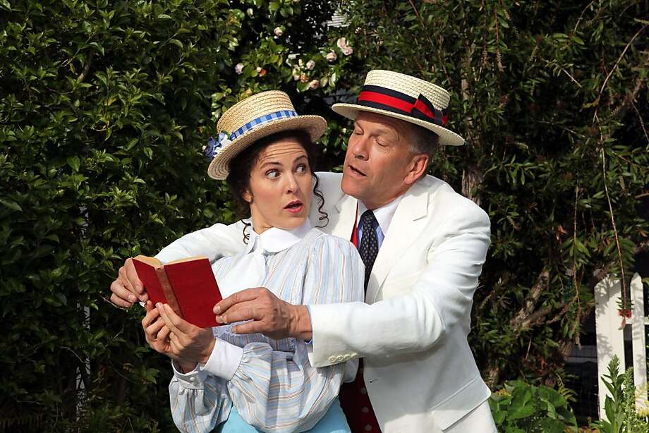 "Marian the Librarian (Susan Zelinsky) and Harold Hill (Robert Moorhead) . ""The Music Man,"" presented by Mountain Play (2012) Photo: Ed Smith"