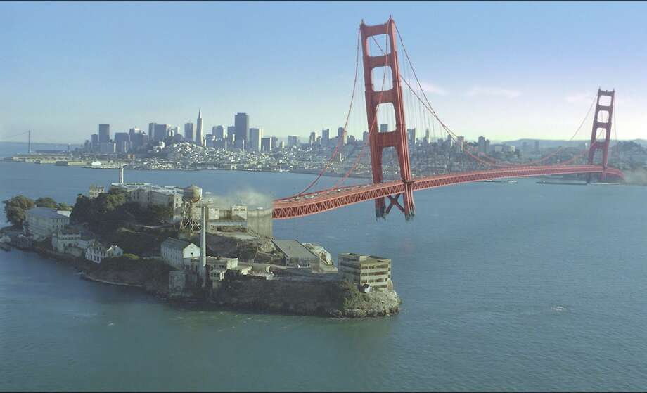 The Golden Gate moves to Alcatraz in &quo;X-Men: The Last Stand,&quo; above, and is at the center of the indie drama &quo;Centaur,&quo; left.      Golden Gate Bridge being moved to Alcatraz Island in the movie X-Men 3: The Last Stand.  CR:  20th Century Fox Ran on: 05-21-2006 Angel, played by Ben Foster, appears to gaze at the Transamerica Pyramid, but the actor never set foot in San Francisco. Ran on: 05-21-2006 Angel, played by Ben Foster, appears to gaze at the Transamerica Pyramid, but the actor never set foot in San Francisco.--- Sent 05/08/12 13:01:30 as bridge20_PH_xmen with caption: Photo: 20th Century Fox