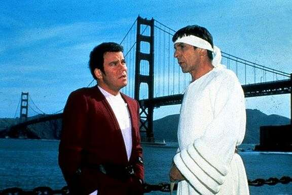"William Shatner and Leonard Nimoy in ""Star Trek IV: The Voyage Home."""