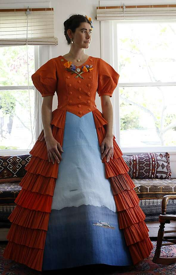 "Artist Anandamayi Arnold works on 7 crape paper dresses as one of 17 artists in ""International Orange"" in honer of the 75th anniversary of Golden Gate Bridge in May. We visit the artist in her home in Berkeley, Calif. on April 18, 2012. Photo: Siana Hristova, The Chronicle"