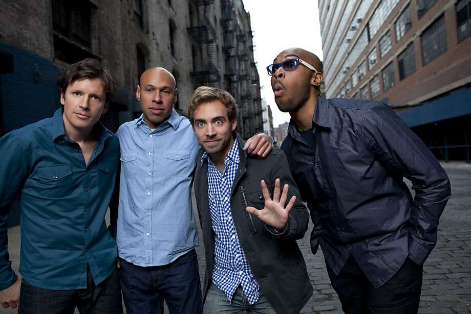 Formed in 2009, James Farm is an acoustic jazz quartet consisting of saxophonist Joshua Redman, pianist Aaron Parks, bassist Matt Penman, and drummer Eric Harland. Pictured from left: Penman, Redman, Parks and Harland. Photo: Jimmy Katz