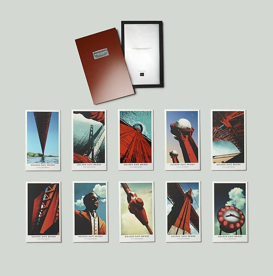 """Golden Gate Bridge Boxed Print Collection: 75 Limited Edition sets of 10 Giclee prints commemorate the Golden Gate Bridge's 75th Anniversary in a an International Orange metal box. Created by advertising icon and Bay Area resident Rich Silverstein exclusively for the Golden Gate National Parks Conservancy. 12"""" x 20"""". $750 Photo: Golden Gate Parks National Conse, GG Parks National Conservancy"""