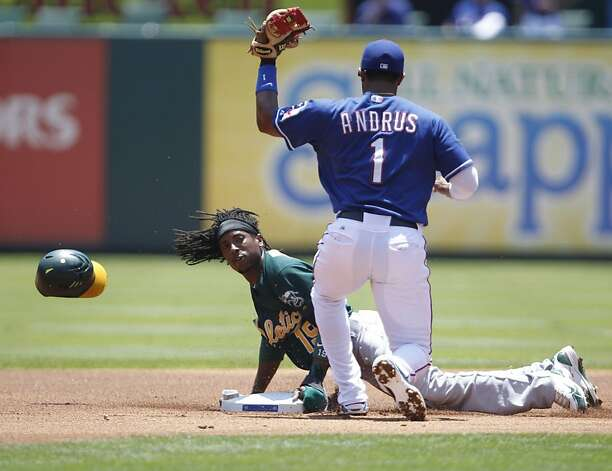 Oakland Athletics second baseman Jemile Weeks (19) is tagged out by Texas Rangers shortstop Elvis Andrus (1) after Weeks tried to steal 2nd base. The Oakland Athletics defeated the Texas Rangers 5-4 in 10 innings in Arlington, Texas, Thursday May 17, 2012. (Ron Jenkins/Fort Worth Star-Telegram/MCT) Photo: Ron Jenkins, McClatchy-Tribune News Service