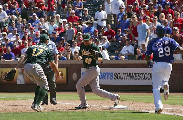 ARLINGTON, TX - MAY 17: Adam Rosales #17 of the Oakland Athletics tosses the ball to Ryan Cook #48 for the out on Adrian Beltre #29 of the Texas Rangers at Rangers Ballpark in Arlington on May 17, 2012 in Arlington, Texas. (Photo by Rick Yeatts/Getty Images) Photo: Rick Yeatts, Getty Images