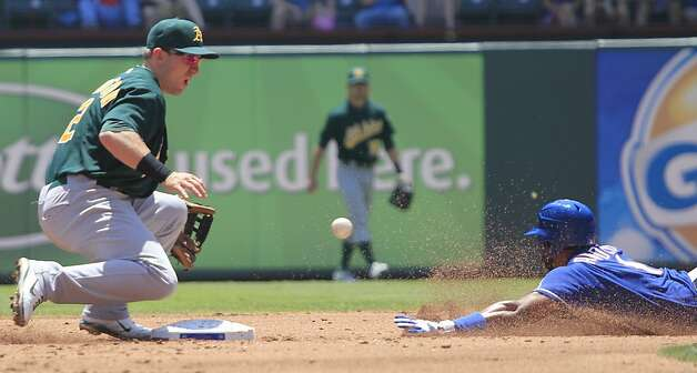 Oakland Athletics shortstop Cliff Pennington (2) waits for the throw as Texas Rangers' Elvis Andrus (1) safely steals second base during the first inning of a baseball game Thursday, May 17, 2012, in Arlington, Texas. (AP Photo/LM Otero) Photo: LM Otero, Associated Press