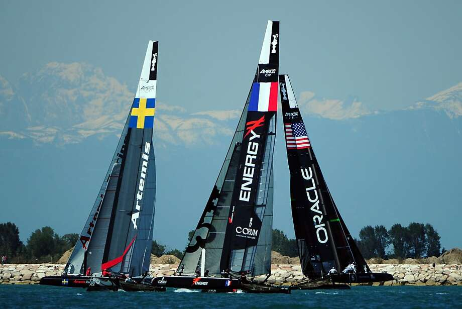 US's Team Oracle team , defender the future America's Cup,(R), France's Team Energy and Sweden's Team Artemis Racing sail during an America Cup World Series (ACWS) training session on Venice's lagoon on May 17, 2012. The Venice ACWS will take place from April 17 to 20. AFP PHOTO / OLIVIER MORINOLIVIER MORIN/AFP/GettyImages Photo: Olivier Morin, AFP/Getty Images