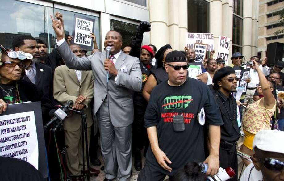 Activist Quanell X rallies the crowd in front of the Harris County Criminal Justice Center during the protest on May 17, the day after the verdict. (Brett Coomer / Houston Chronicle)
