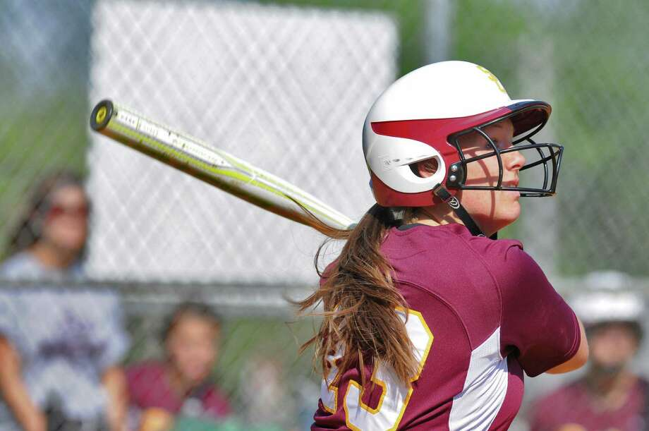 Colonie pitcher Kelly Lane at bat during their rain shortened 2-0 victory over Columbia on Wednesday May 16, 2012 in Colonie, NY.  (Philip Kamrass / Times Union ) Photo: Philip Kamrass / 00017717A