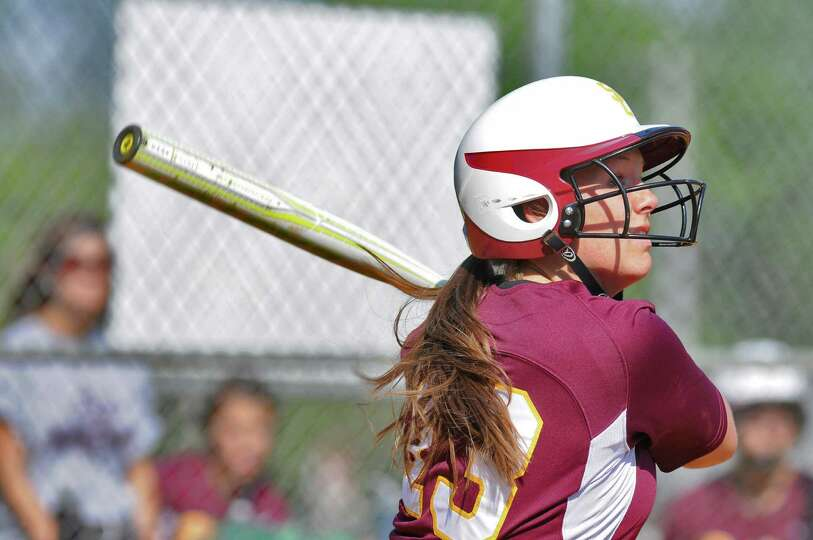 Colonie pitcher Kelly Lane at bat during their rain shortened 2-0 victory over Columbia on Wednesday