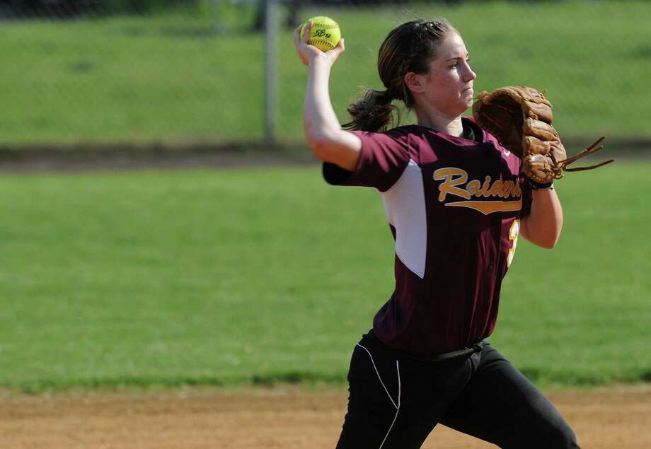 Colonie shortstop Stephanie Reinhardt throws to first base during their rain shortened 2-0 victory over Columbia on Wednesday May 16, 2012 in Colonie, NY.  (Philip Kamrass / Times Union ) Photo: Philip Kamrass / 00017717A