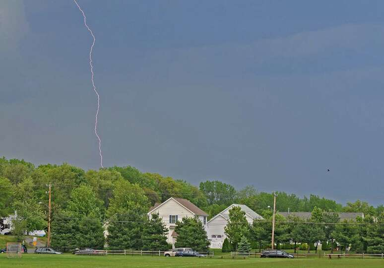 Lightning strikes on Wednesday May 16, 2012 in Colonie, NY.    (Philip Kamrass / Times Union )