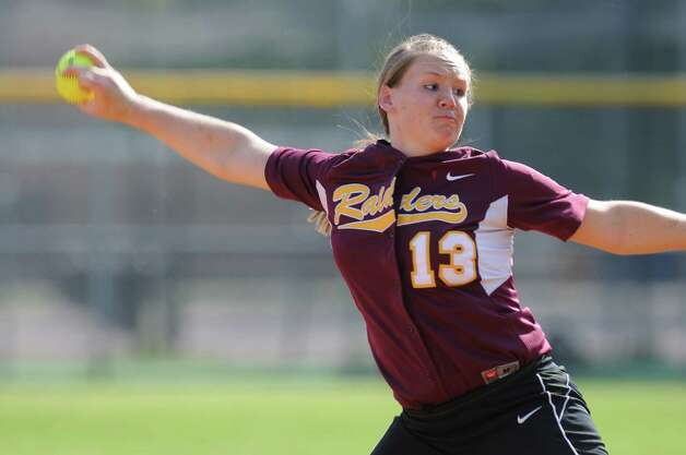Colonie's Kelly Lane delivers a pitch during their rain shortened 2-0 victory over Columbia on Wednesday May 16, 2012 in Colonie, NY.  (Philip Kamrass / Times Union ) Photo: Philip Kamrass / 00017717A