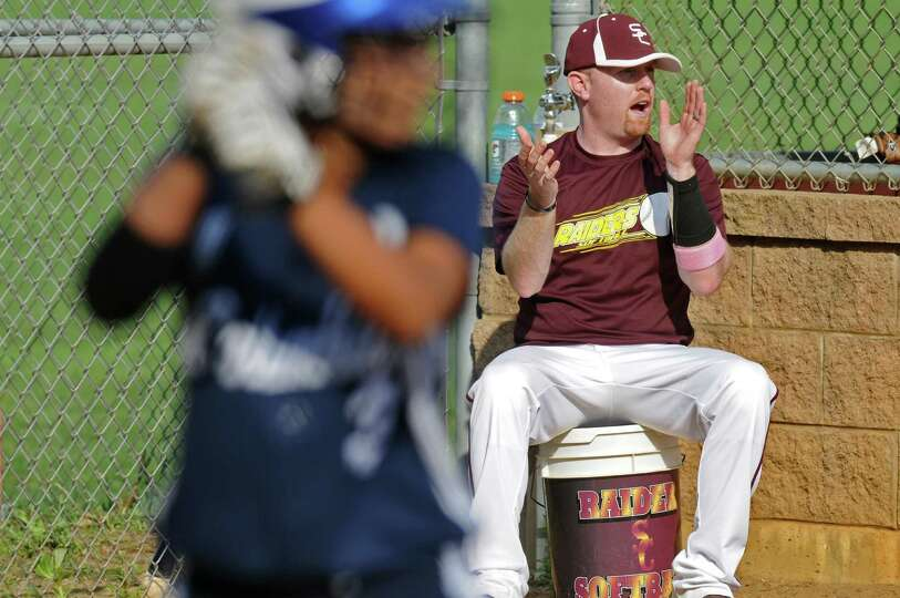 Colonie girls softball coach Kevin Jette watches during their rain shortened 2-0 victory over Columb