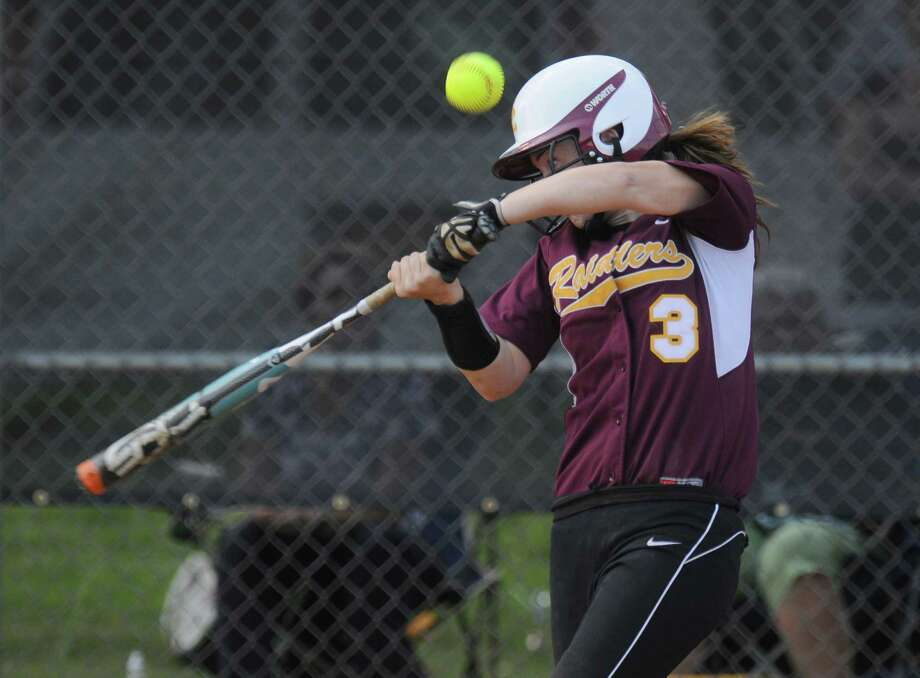 Colonie shortstop Stephanie Reinhardt fouls off a pitch during their rain shortened 2-0 victory over Columbia on Wednesday May 16, 2012 in Colonie, NY.  (Philip Kamrass / Times Union ) Photo: Philip Kamrass / 00017717A