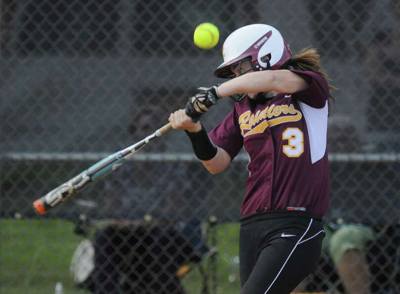 Colonie shortstop Stephanie Reinhardt fouls off a pitch during their rain shortened 2-0 victory over