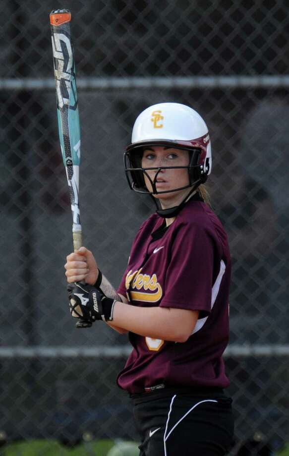 Colonie shortstop Stephanie Reinhardt between pitches during their rain shortened 2-0 victory over Columbia on Wednesday May 16, 2012 in Colonie, NY.  (Philip Kamrass / Times Union ) Photo: Philip Kamrass / 00017717A