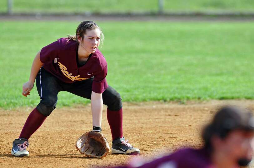 Colonie shortstop Stephanie Reinhardt in the field during their rain shortened 2-0 victory over Colu