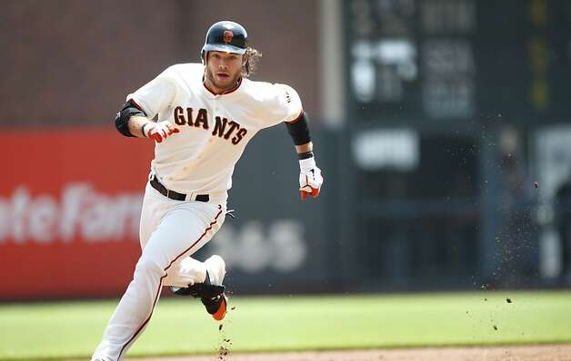 The Giants Brandon Crawford gets a double in the first inning of their game againsts the Cardinals in San Francisco, Calif., Thursday, May 17, 2012.  The Giants won 7-5. Photo: Sarah Rice, Special To The Chronicle
