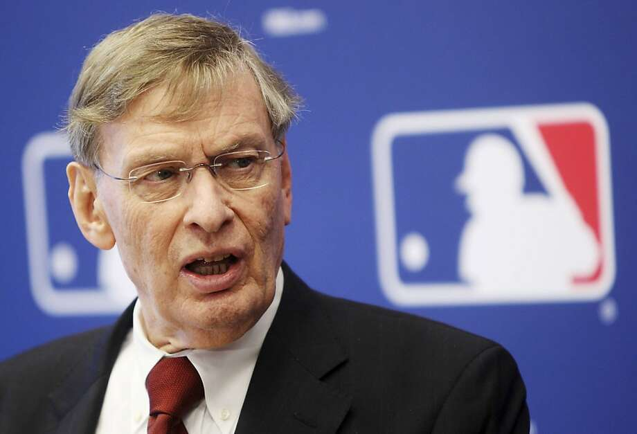 Major League Baseball Commissioner Bud Selig speaks at a news conference after meeting the team owner at MLB headquarters in New York, Thursday, May 17, 2012. Photo: Seth Wenig, Associated Press