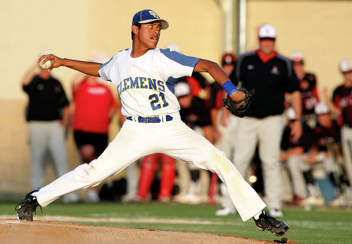 Jorge Loera gets the start for the Buffaloes as Clemens plays Lake Travis in playoff baseball at Judson High School on May 17, 2012. Tom Reel/ San Antonio Express-News