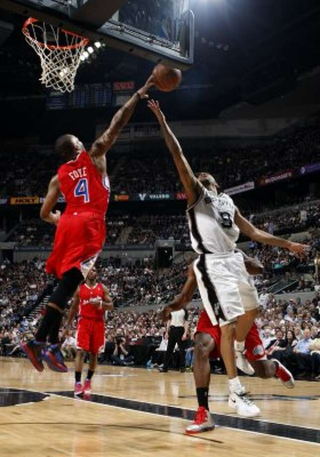 Los Angeles Clippers' Randy Foye (4) blocks a shot by San Antonio Spurs' Tony Parker (9) during the first half of game two of the Western Conference semifinals at AT&T Center, Thursday, May 17, 2012.  Jerry Lara/San Antonio Express-News (San Antonio Express-News)