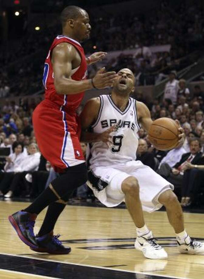 San Antonio Spurs' Tony Parker (9) drives against  Los Angeles Clippers' Randy Foye (4) during the first half of game two of the Western Conference semifinals at AT&T Center, Thursday, May 17, 2012.  Jerry Lara/San Antonio Express-News (San Antonio Express-News)