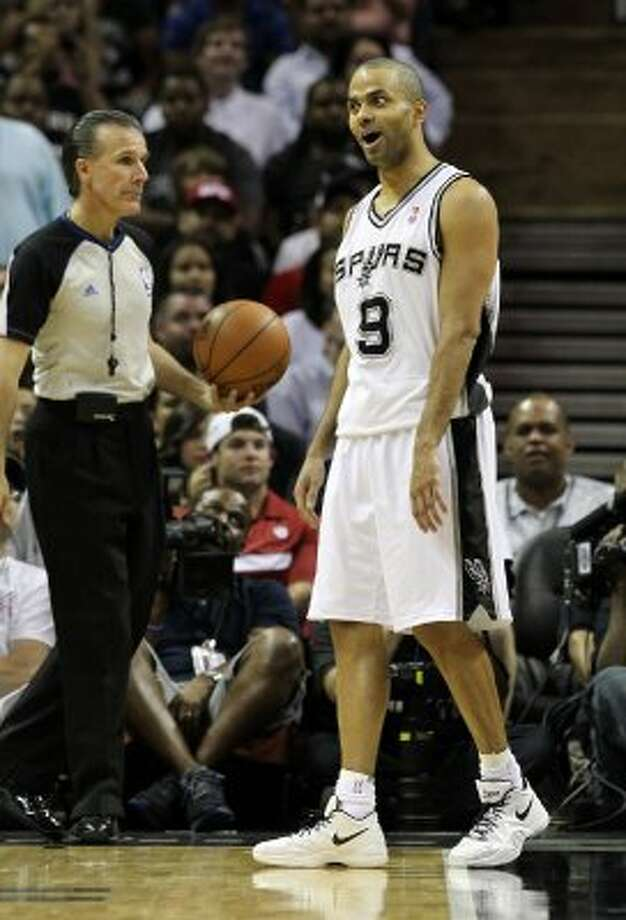 San Antonio Spurs' Tony Parker (9) reacts to a no call by an official in the first half of game two of the Western Conference semifinals at the AT&T Center on Thursday, May 17, 2012. Kin Man Hui/Express-News (SAN ANTONIO EXPRESS-NEWS)