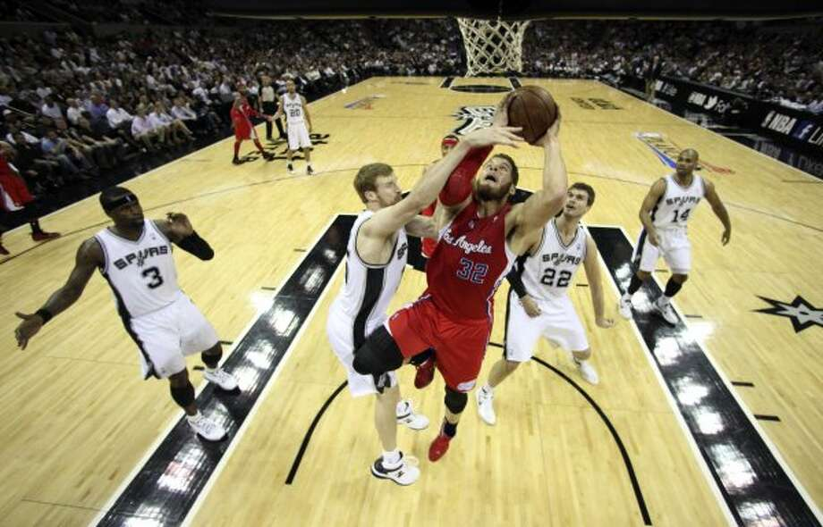 Los Angeles Clippers' Blake Griffin (32) drives against San Antonio Spurs' Matt Bonner (15) during the first half of game two of the Western Conference semifinals at AT&T Center, Thursday, May 17, 2012.  Jerry Lara/San Antonio Express-News (San Antonio Express-News)
