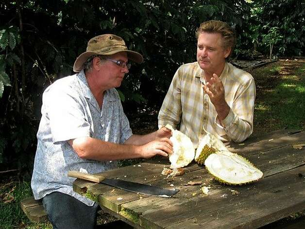 "Actor Bill Pullman, star of the upcoming ""The Fruit Hunters,"" and Hawaii tropical fruit proponent Ken Love, one of the film's subjects, share the foul-smelling durian on the Big Island. Photo: Hawaii Tropical Fruit Growers"
