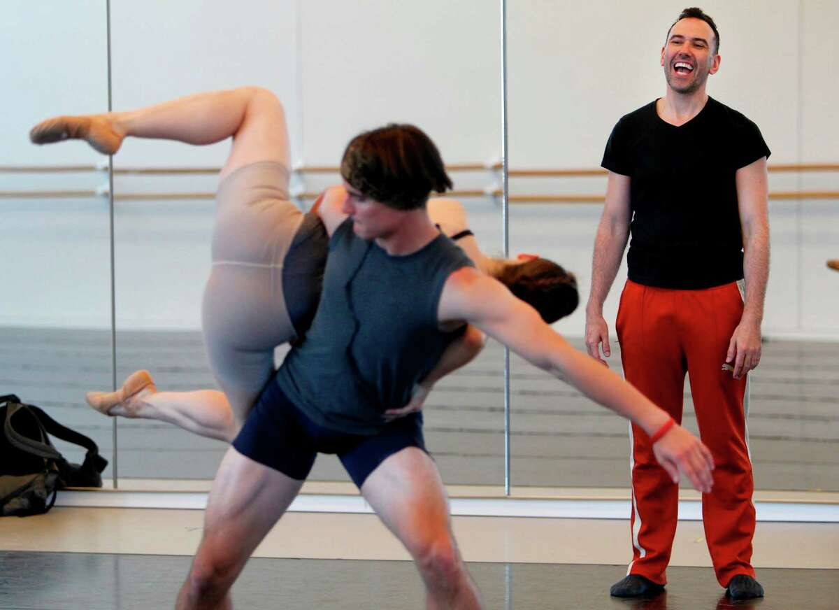 Choreographer Nicola Fonte works instructs dancers during a rehearsal at the Houston Ballet Center on Wednesday, April 25, 2012, in Houston. This is Fonte's first commission for Houston Ballet. ( Mayra Beltran / Houston Chronicle )