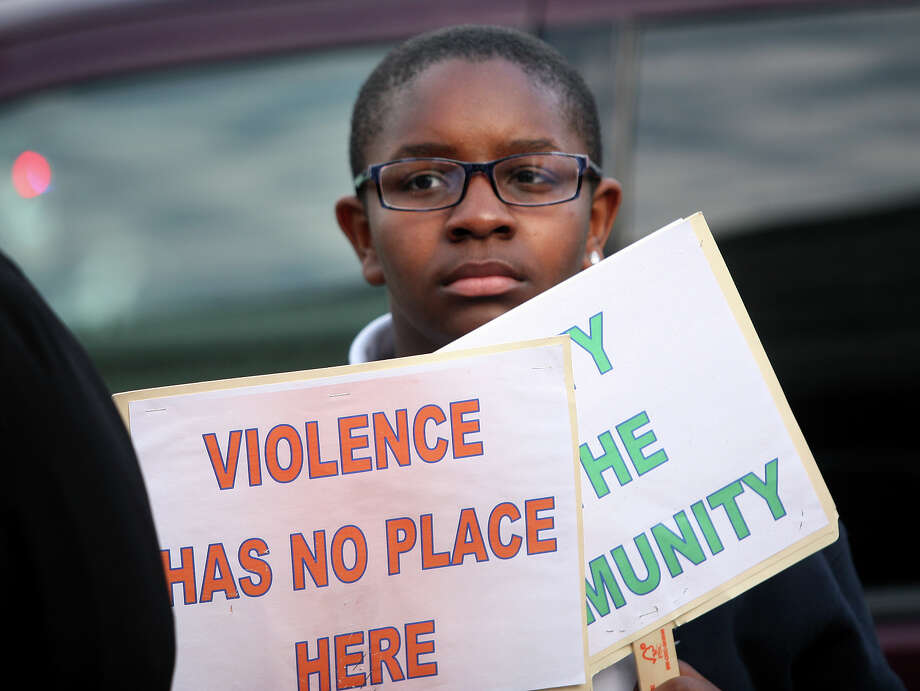 "Alviaahn Williams, 12 of Bridgeport, attends the ""Stop the Violence"" rally and march on Bridgeport's West Side on Monday, May 7, 2012. Photo: Brian A. Pounds / Connecticut Post"