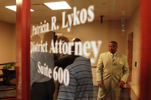 Quanell X at Harris County District Attorney Pat Lykos' office Friday, May 18, 2012. (Johnny Hanson / Chronicle)