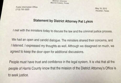 Statement by Harris County District Attorney Pat Lykos issued in response to a request for a meeting by the of the New Black United Front  (Brian Rogers / Chronicle)