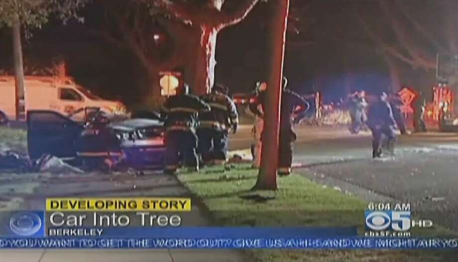 A car struck a tree in a Berkeley neighborhood on May 18, 2012. Photo: CBS San Francisco