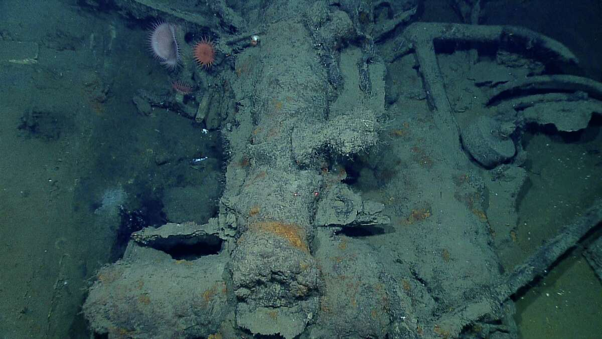 In this photo provided by NOAA Okeanos Explorer Program, a well preserved shipwreck is seen about 200 miles off the coast of Louisiana, at a depth around 4,000 feet, in the Gulf of Mexico. A large cast-iron cannon lies next to an anchor. The wheel to the right of the anchor may be part of the gun carriage.