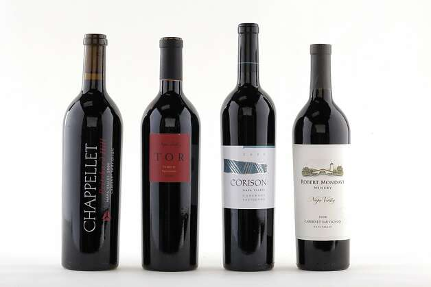 2009 Napa Cabernets, from left: 2009 Chappellet Pritchard Hill Napa Valley Cabernet Sauvignon; 2009 Tor Napa Valley Cabernet Sauvignon; 2009 Corison Napa Valley Cabernet Sauvignon; 2009 Robert Mondavi Napa Valley Cabernet Sauvignon. Photo: Craig Lee, Special To The Chronicle
