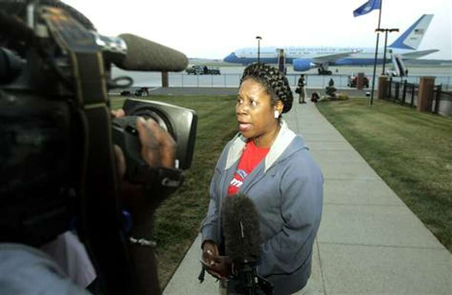 Speaking to reporters outside the military prison at Guantanamo Bay, Cuba.
