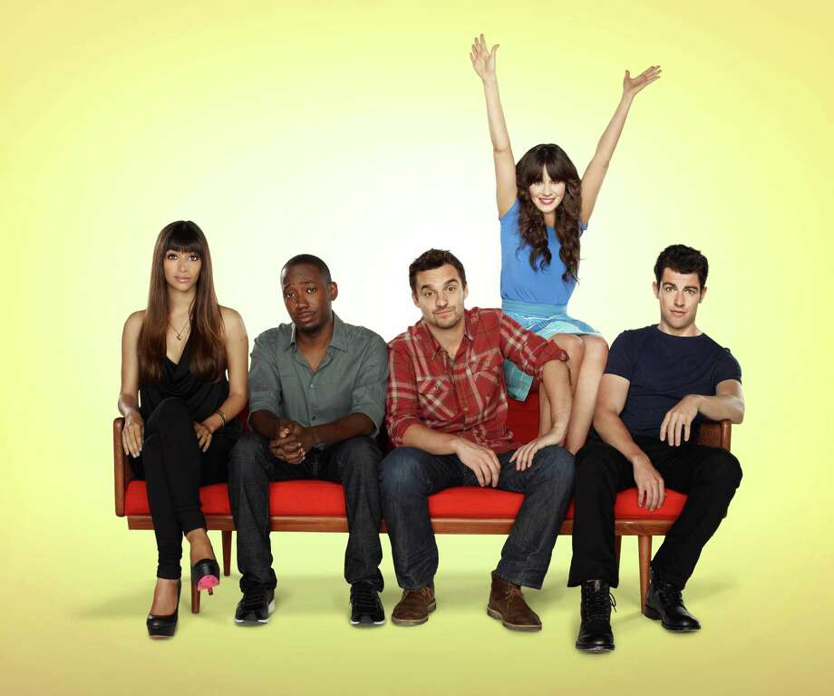 NEW GIRL:  The new comedy starring Zooey Deschanel as an adorkable girl who moves in with three single guys, changing their lives in unexpected ways, premiered Tuesday, Sept. 20, 2011 on FOX.   (Pictured L-R:  Hannah Simone, Lamorne Morris,  Jake Johnson, Zooey Deschanel and Max Greenfield).   Fox Broadcasting Co. Cr: Autumn DeWilde/FOX / 1