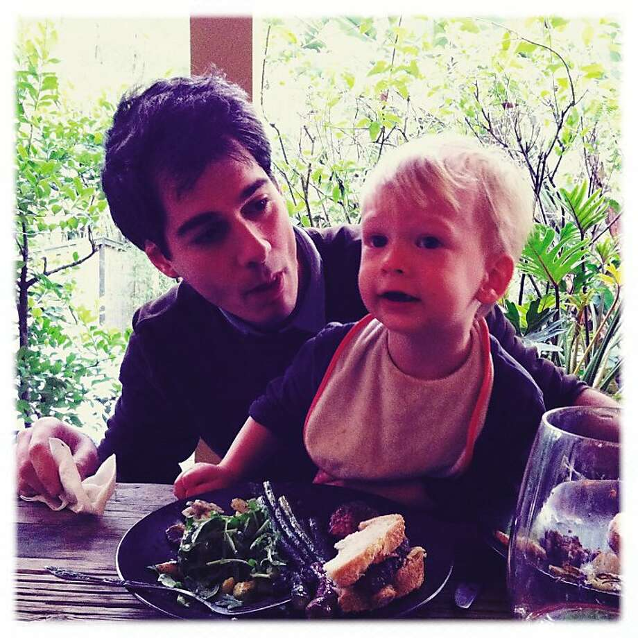 Joel Stein with his son. Photo: Cassandra Barry