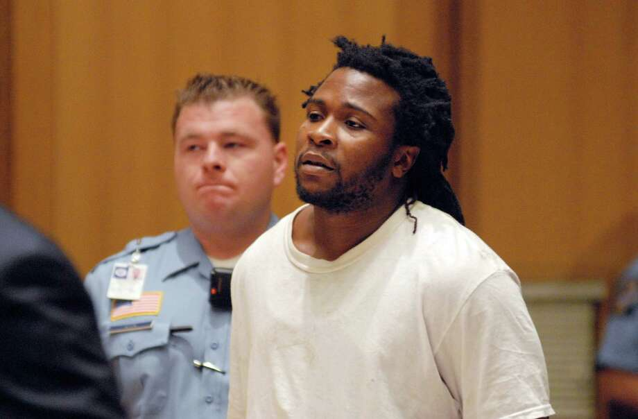 Frank Douglas of Norwalk, is arraigned in Stamford Superior (Conn) Court on Friday May 18, 2012 on charges of second-degree robbery, engaging police in a pursuit, interference with police and animal cruelty. Photo: Dru Nadler / Stamford Advocate Freelance