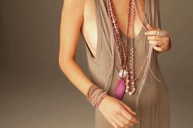 Chan Luu's artistic, bohemian-look jewelry includes necklaces, bracelets, a chiffon necklace and bracelet, and a rose quartz ring. Photo: Courtesy, Chan Luu