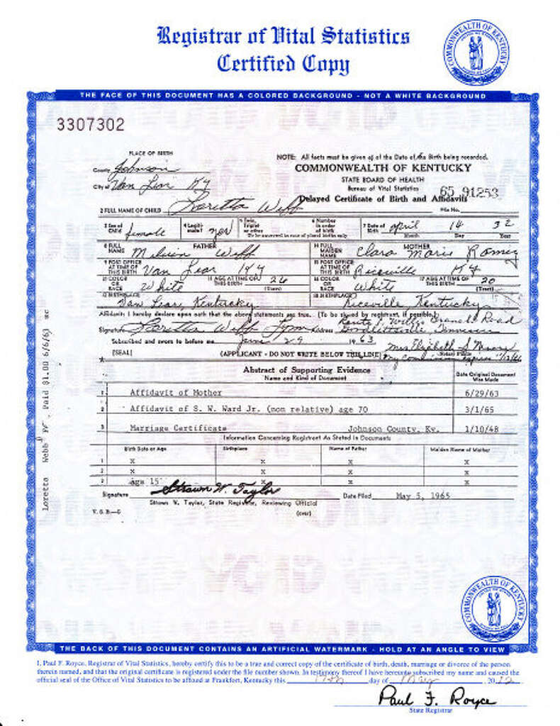 Apnewsbreak loretta lynn married at 15 not 13 times union an image of the birth certificate of country music legend loretta lynn who was born aiddatafo Images