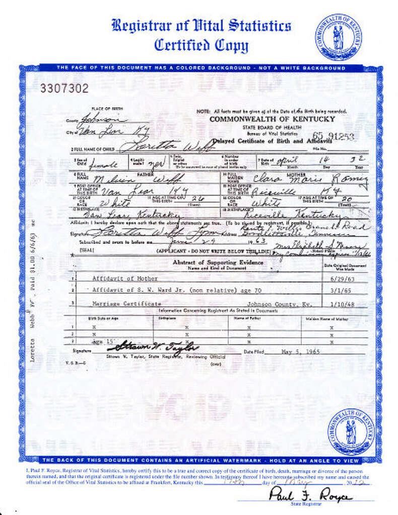 Apnewsbreak loretta lynn married at 15 not 13 times union an image of the birth certificate of country music legend loretta lynn who was born aiddatafo Choice Image