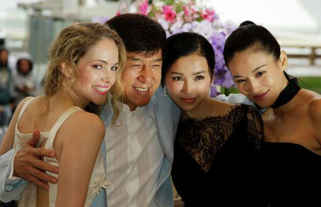 From left, Actress Laura Weissbecker, director Jackie Chan, actresses Yao Xingtong, and Zhang Nan Xin during a photo call for Chinese Zodiac at the 65th international film festival, in Cannes, southe